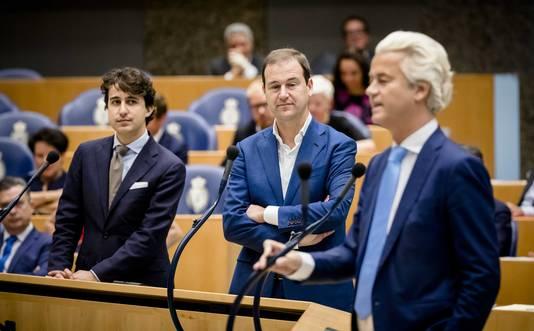 Jesse Klaver (Groenlinks), Lodewijk Asscher (PVDA) en PVV-fractievoorzitter Geert Wilders.