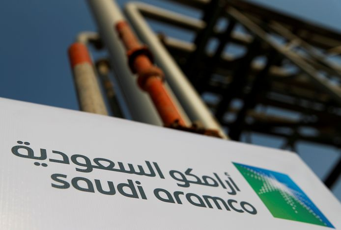 Het logo van het Saudische staatsolieconcern Aramco.