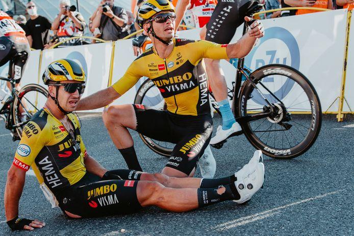 Dylan Groenewegen na de crash in de Ronde van Polen op 5 augustus vorig jaar.