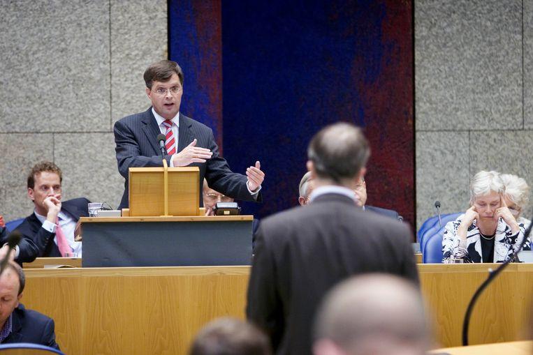 Toenmalig premier Jan Peter Balkenende bij de Algemene Beschouwingen in 2006.  Beeld Werry Crone