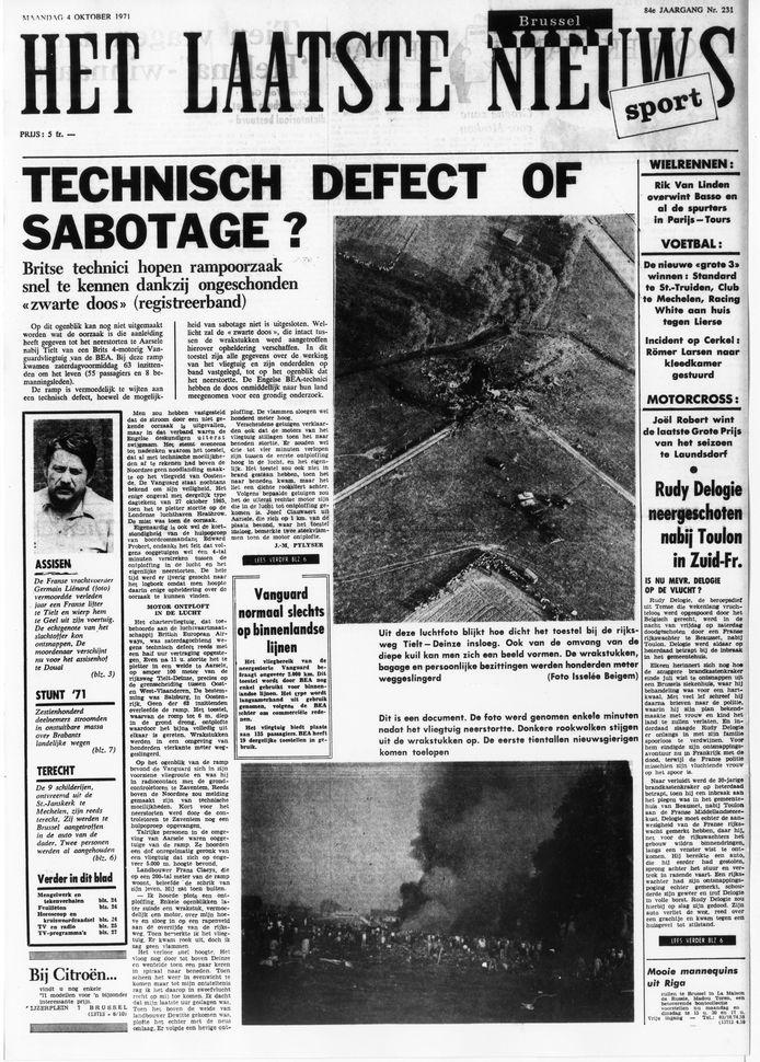 De voorpagina van Het Laatste Nieuws op maandag 4 oktober 1971