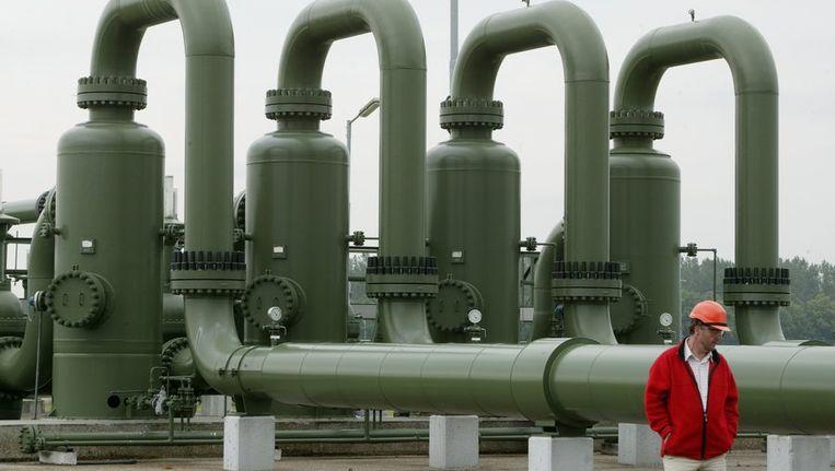 Aardgas-overslag-, aflevering- en metingstation in het Groningse Tjuchem waar het gas van NAM overgaat naar Gasunie dat het later weer aan de energiebedrijven levert. © ANP Beeld