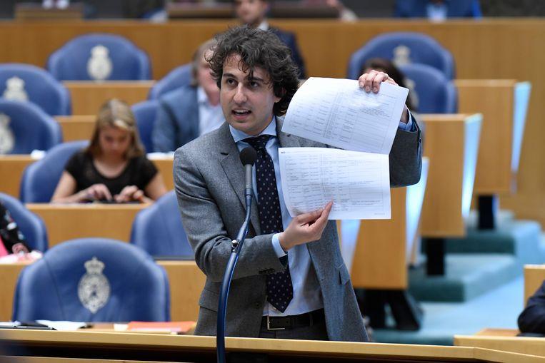 Den Haag - 25 april 2018. Fractievoorzitter van GroenLinks, Jesse Klaver, tijdens het debat over de dividendbelasting Beeld Hollandse Hoogte / Peter Hilz