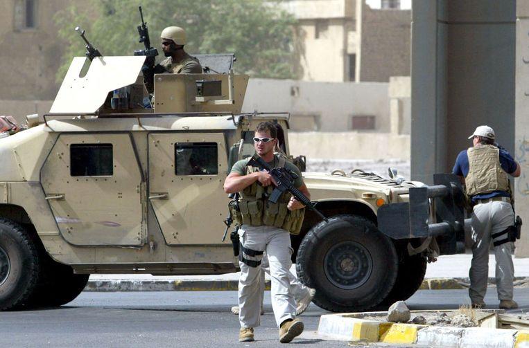 Blackwater-bewakers in 2005 in Baghdad. Beeld AFP