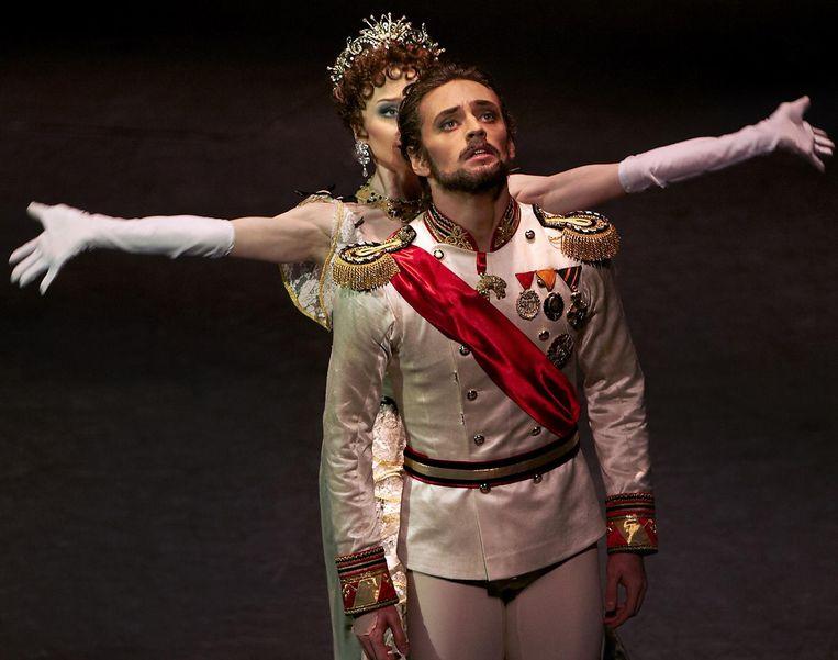 Sergei Polunin in de balletvoorstelling Mayerling in Moskou. Beeld AFP