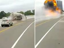 Tankwagen rijdt tegen vangrail en gaat in vlammen op