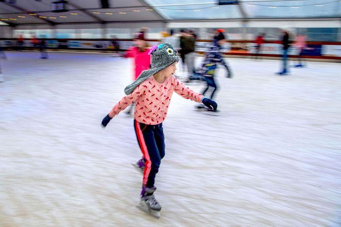 Schaatsende kinderen tijdens Beuningen on Ice, vorig jaar.