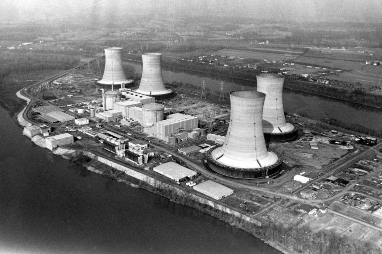 De kerncentrale van Three Miles Island, foto uit 1979. Beeld AP