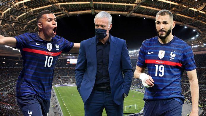 Kylian Mbappé, Didier Deschamps en Karim Benzema in het Stade de France.