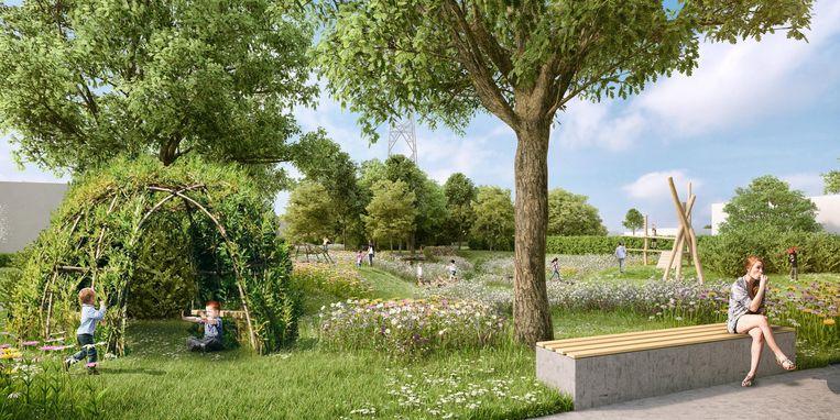Zo zou een park in de nieuwe verkaveling eruitzien.