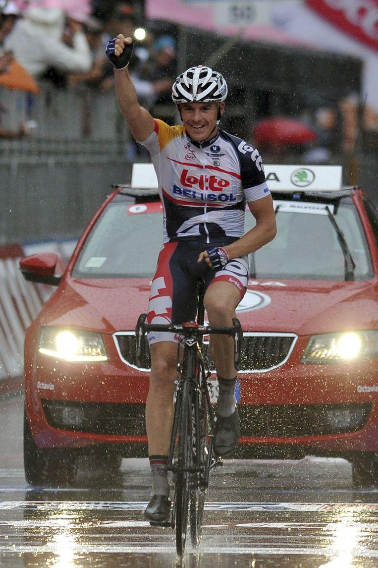 Hansen bezorgde Lotto-Belisol een vijfde opeenvolgende zege in de Giro Beeld AP