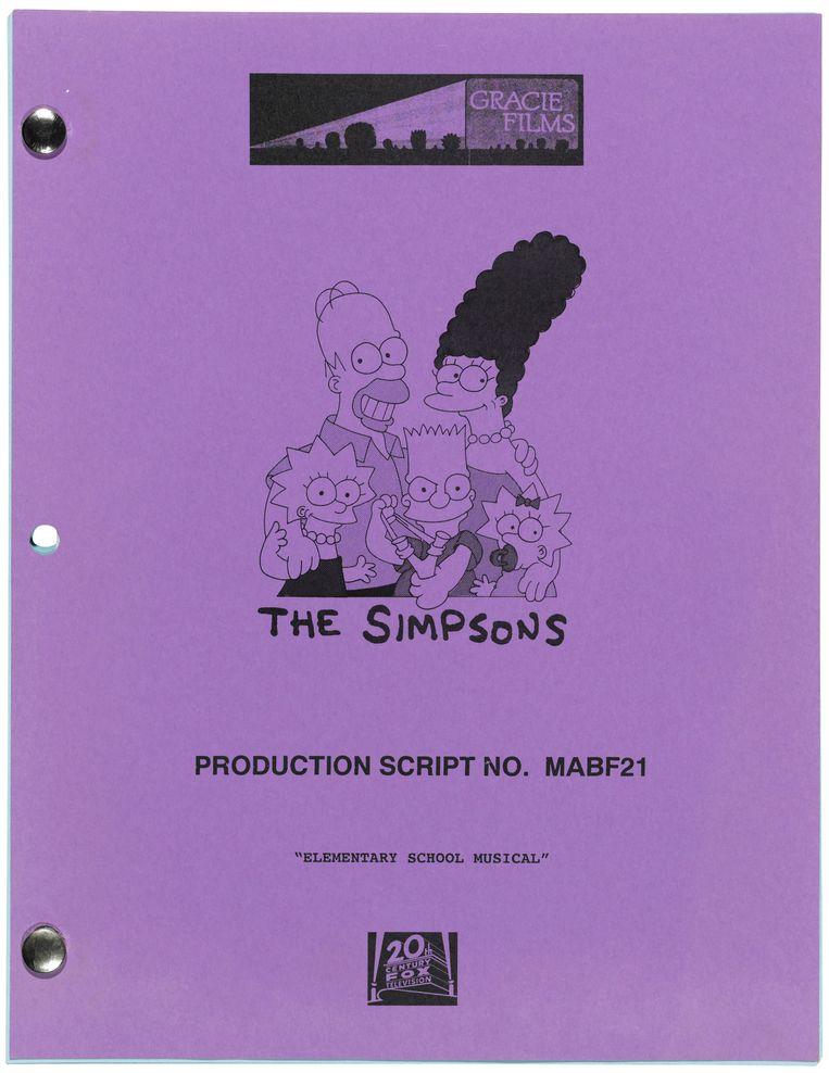Een kopie van het script van de aflevering van The Simpsons, met daarin een getekende Hawking. Beeld Christies