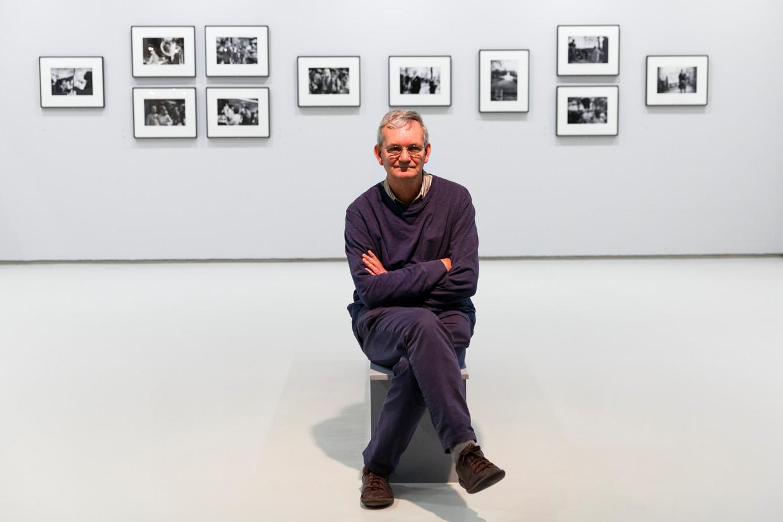 Martin Parr bij de opening van een expositie in Londen, 2016. Beeld Getty