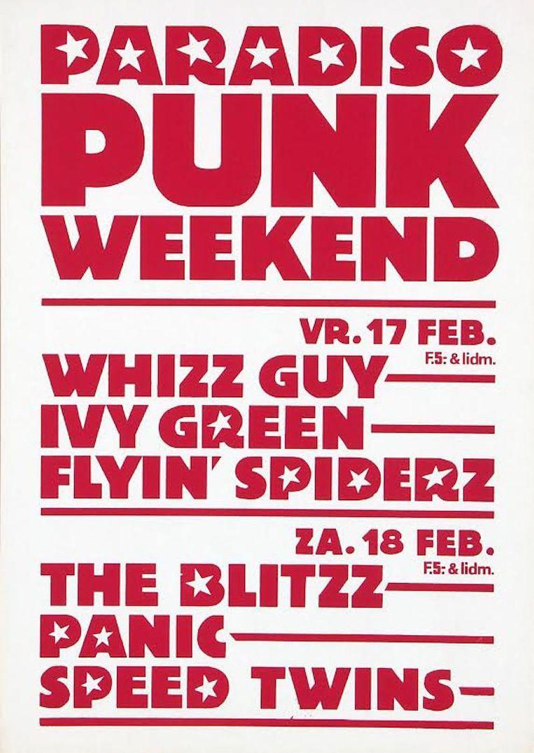 De poster van het eerste punkfestival in 1978 in Paradiso Beeld -