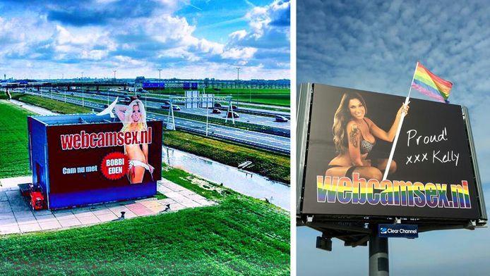 Links: de gewraakte billboard met pornoster Bobbi Eden. Rechts: de vandaag geplaatste reclamezuil met Kelly van der Veer.