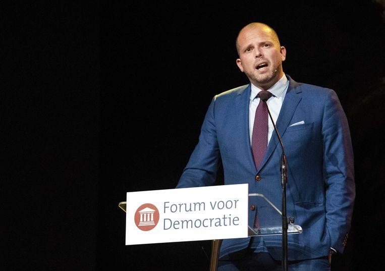 Voormalig staatssecretaris van asiel en migratie Theo Francken houdt een toespraak tijdens het partijcongres van Forum voor Democratie.