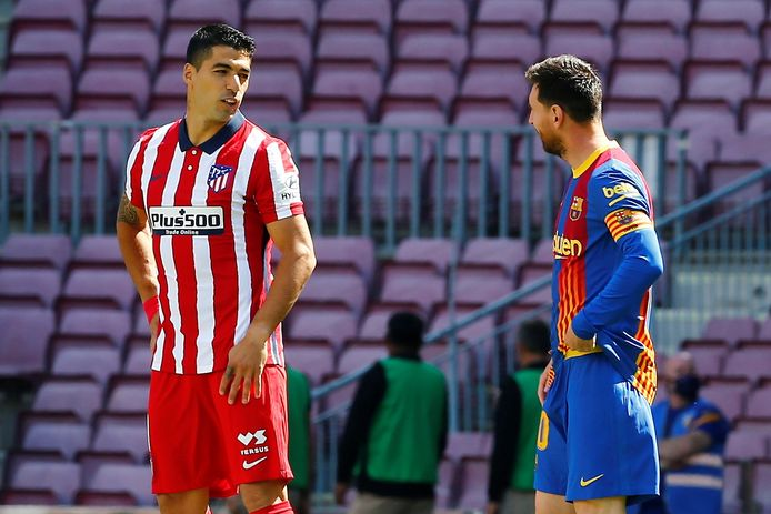 Suárez (l) en Messi: oud-ploeggenoten en nog steeds beste vrienden.