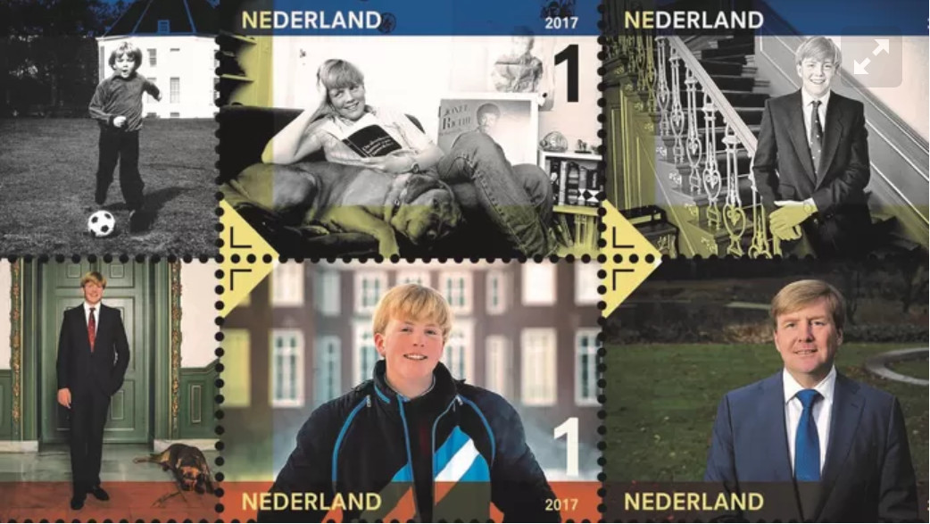 Ter ere van de 50ste verjaardag van koning Willem-Alexander heeft PostNL een postzegelvel met foto's van de koning uitgebracht.