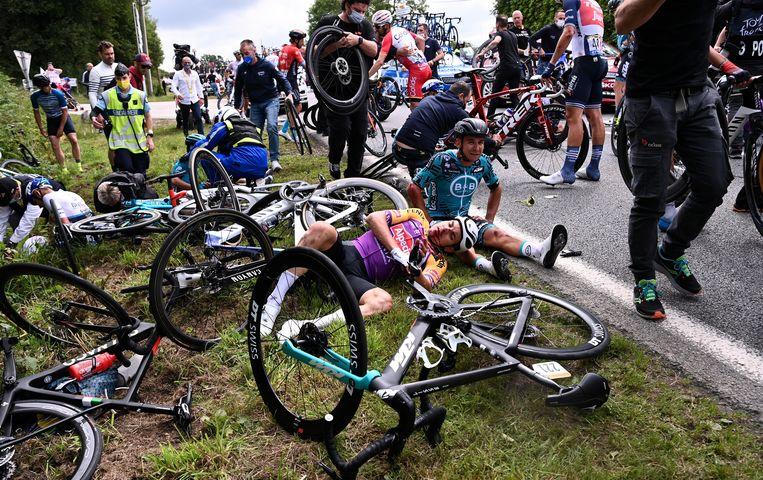 Tour de France, 26 juni, dit beeld wil Tony Martin niet meer zien. Beeld EPA