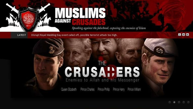 De fundamentalistishe groepering 'Muslims Against Crusades' probeerde ook het huwelijk van prins William te verstoren. Beeld UNKNOWN