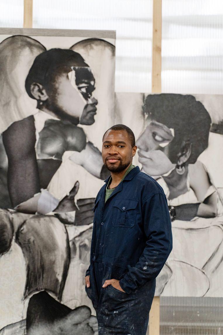 Neo Matloga, winnaar van de tiende ABN Amro Kunstprijs  Beeld Jonathan de Waart