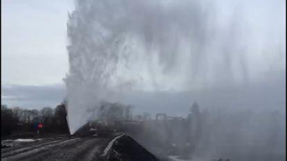 Lek op werf: water spuit metershoog in Eisden