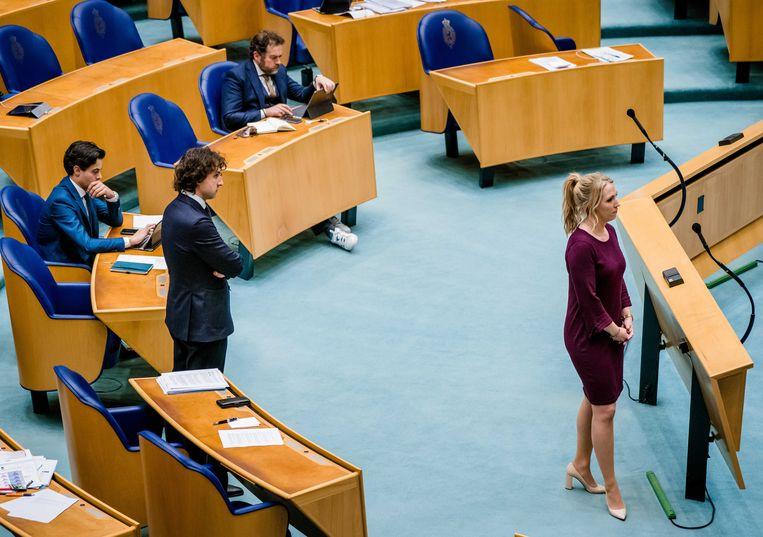 Rob Jetten (D66), Jesse Klaver (Groenlinks), Klaas Dijkhoff (VVD) en Lilian Marijnissen (SP) in de Tweede Kamer voor een debat over de ontwikkelingen rondom het coronavirus.  Beeld ANP