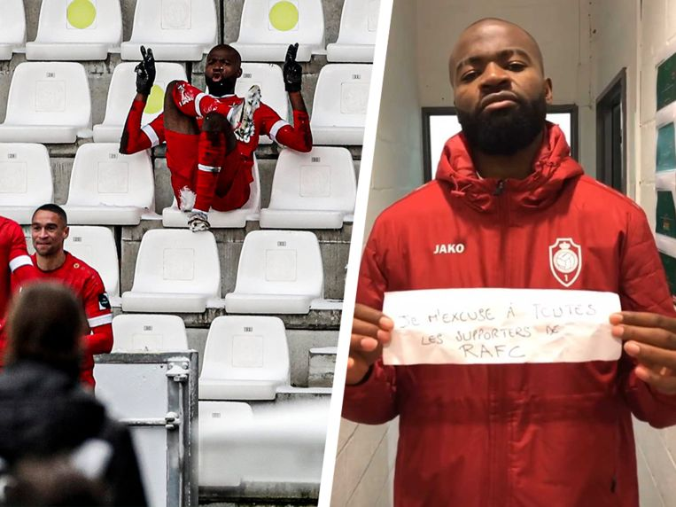 De viering en de excuses van Didier Lamkel Zé. Beeld Photo News/Instagram
