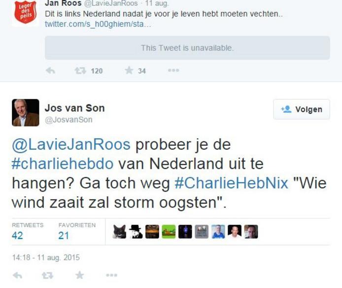 Jos van Son haalde in 2015 op Twitter stevig uit naar Jan Roos.