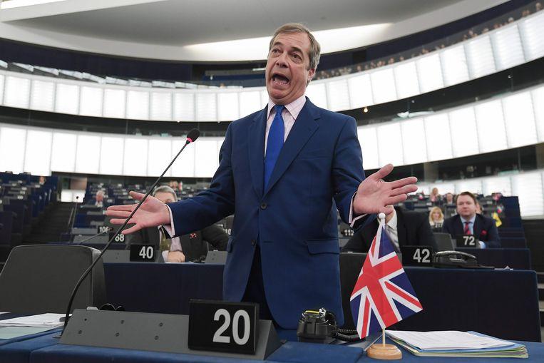 Nigel Farage in het Europees parlement in Straatsburg. Het beeld behoort na vandaag tot het verleden. Beeld AFP