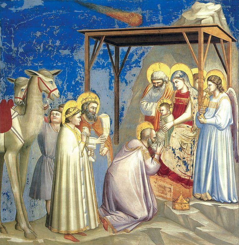 Aanbidding van de Wijzen (ca. 1305), Giotto ca. (1266-1337) Beeld .