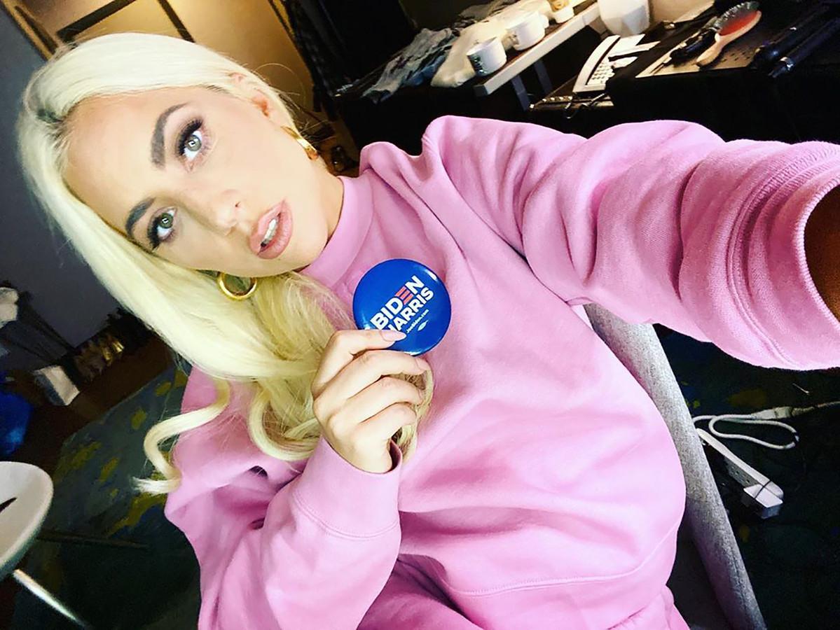 Lady Gaga voor team Biden.