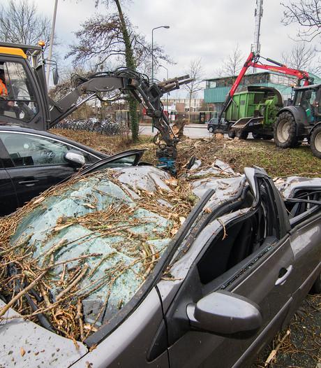 Boom valt op auto: 'Gelukkig zat ik er niet in'