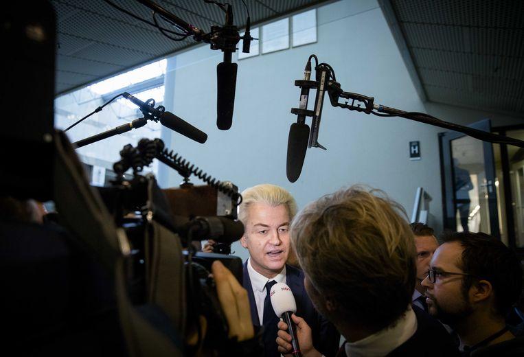 PVV-fractievoorzitter Geert Wilders tijdens het vragenuurtje in de Tweede Kamer.  Beeld ANP