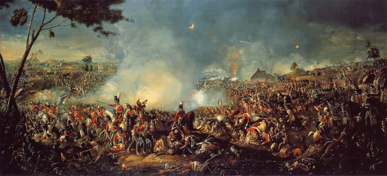 Het schilderij 'Battle of Waterloo' van William Sadler. Beeld rv