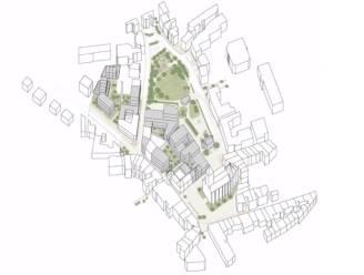 Ontwerpvisie masterplan centrum Lede: nieuw administratief centrum en 60 woningen/appartementen in het groen