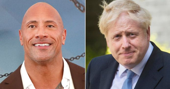 "Comme un air de famille entre Dwayne ""The Rock"" Johnson et Boris Johnson."