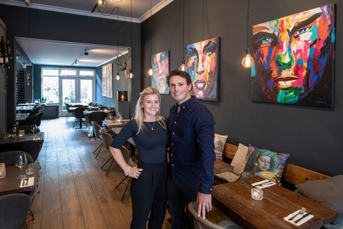 Maarten Kolff en Jill in den Bosch in hun restaurant.
