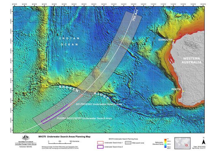 Het zoekgebied van MH370