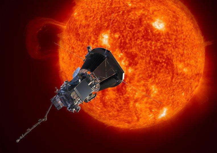 Impressie van de Parker Solar Probe die de zon nadert. Beeld AP