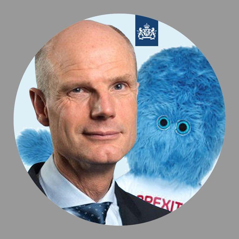 Minister Stef Blok van Buitenlandse Zaken heeft zijn profielfoto op twitter aangepast. Daarop is nu ook het brexitbeest te zien. Beeld Ministerie van Buitenlandse Zaken