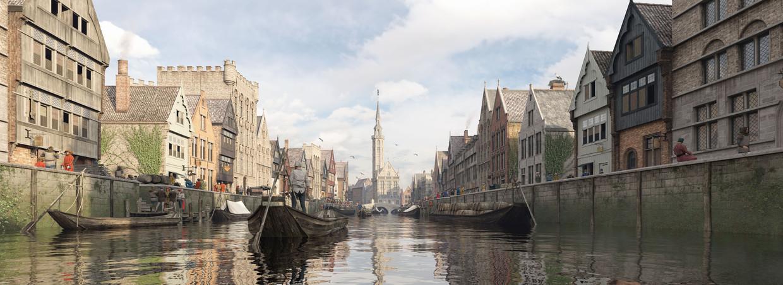 Virtualrealitybeeld van het Zwingebied met de voorhavens van Brugge. Beeld rv
