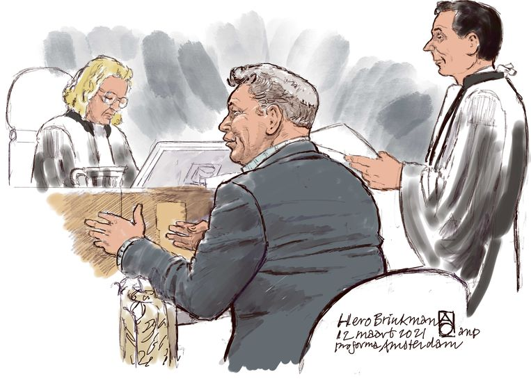 Rechtbanktekening van voormalig PVV'er en politieman Hero Brinkma. Beeld ANP