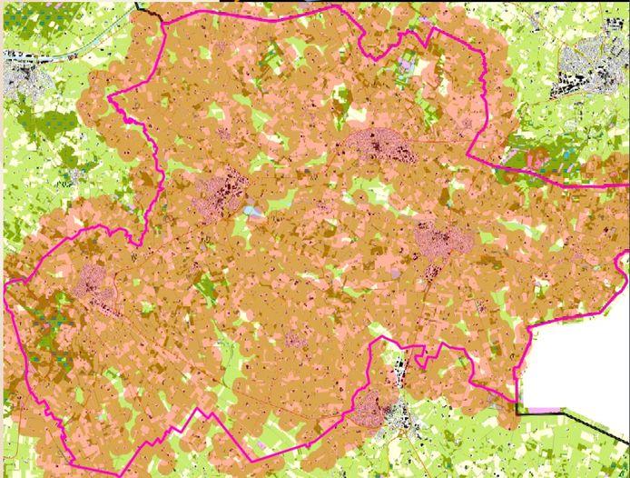 In de groene gebieden zouden windmolens geplaatst kunnen worden in Berkelland. Daar is genoeg afstand tot omliggende woningen