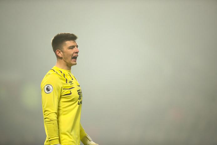 Nick Pope tijdens de wedstrijd tegen Manchester United.