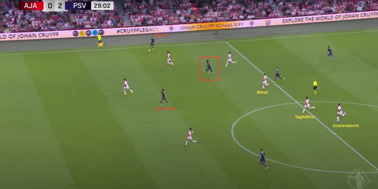 Het naar de vleugel uitwijken van Zahavi en de dieptesprint van Van Ginkel rollen de rode loper uit voor Madueke, op weg naar zijn tweede goal. Beeld Screenshot ESPN