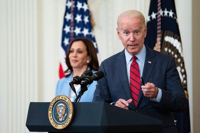 Amerikaans president Joe Biden kondigde de deal aan in het Witte Huis, samen met vicepresident Kamala Harris.