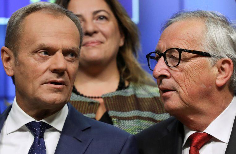 Europese Raad-voorzitter Donald Tusk (l.) en Commissie-voorzitter Jean-Claude Juncker reageerden ontgoocheld. Beeld REUTERS