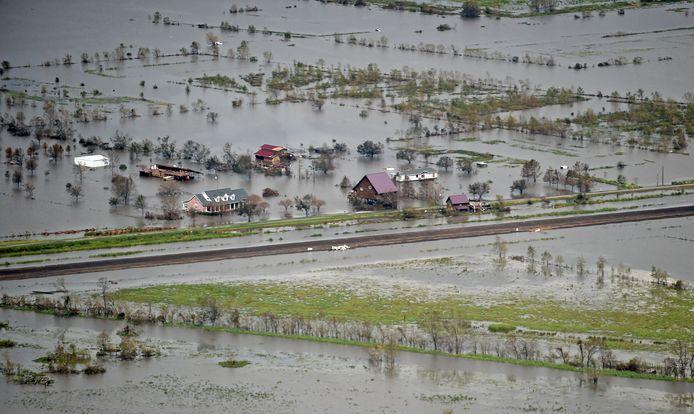 Vue aérienne des dégâts causés par l'ouragan Ida dans le sud-est de la Louisiane.