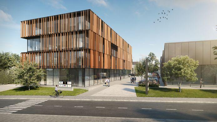 Langs de Kwadestraat verrijst tegen de zomer van 2022 de innovatieve en duurzame bedrijvencampus Hexahub.